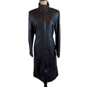 Prodi Longline Black Leather Coat